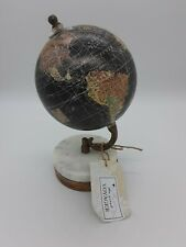 """Desktop Tabletop Globe Black Mapped Wood Bottom With Tags 9"""" Tall Home Decor"""