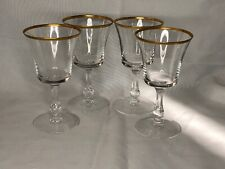 Mid Century Fostoria Crystal Gold Rimmed Stemware Wine Glasses