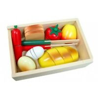 Kid's Wooden Pretend Play Toy Cooking Food Cutting Bread Box Kitchen Cubby House