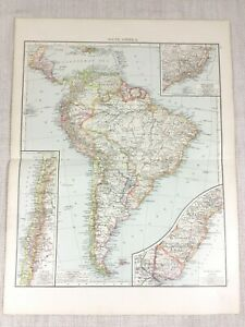 1898 Antique Map of South America Brazil Chile Uruguay 19th Century Victorian
