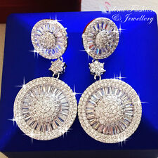 18K White Gold Filled AAA Grade CZ Luxury Channel Set Round Cluster Earrings