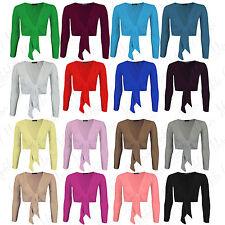Womens Long Sleeve Front Tie Knot Ladies Bolero Cropped Shrug Top Cardigan 8-22