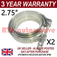 "2X V-BAND CLAMP + FLANGES ALL STAINLESS STEEL EXHAUST TURBO HOSE 2.75"" 70mm"