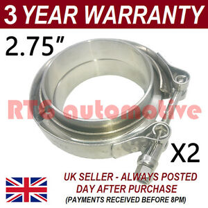 """2X V-BAND CLAMP + FLANGES ALL STAINLESS STEEL EXHAUST TURBO HOSE 2.75"""" 70mm"""