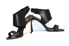 C5 NEW MANOLO BLAHNIK Black Leather Elastic Ankle Strap Heels Sandal Shoes Sz 41
