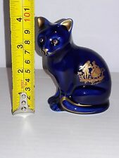 "ESTATE 4"" BLUE LIMOGES CASTEL CAT 22K GOLD ETCH SCENE MADE IN FRANCE"