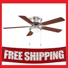 "Hugger Low-Profile 52"" Brushed Nickel Ceiling Fan Flush Mount Frosted Dome Light"