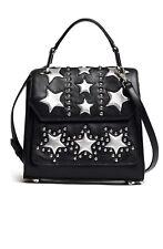 Rebecca Minkoff Top Handle Bag Black Star Satchel Silver Studs New