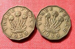 2 X 1939 Threepence