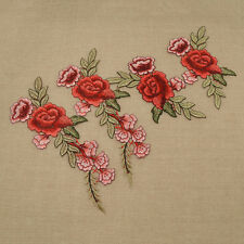 Rose Flower Embroidery Sew on Patch DIY Sewing For Clothing Collar Dress 1 Pair
