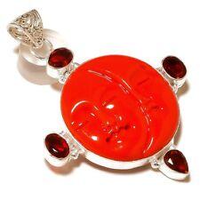 Carved Bone Red Face,Faceted Garnet Gemstone 925 silver overlay Handmade Pendant