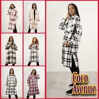 Ladies Longline Shacket Check Fleece Casual Jacket Baggy Oversize Long Shirt Top