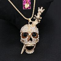 Betsey Johnson Crystal Skull Head Sword Pendant Sweater Chain Women's Necklace