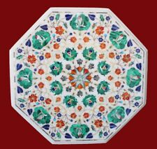 """18"""" Marble Coffee Table Top White Pietra dura Inlay Art Work For Home Decors"""