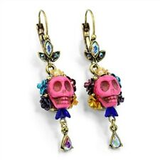 NEW SWEET ROMANCE/OLLIPOP GLASS CALAVERA SKULL & TEARDROP CRYSTAL EARRINGS PINK