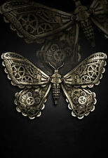 Restyle Haarspange Moth Motte Gothic Mechanical Hairclip Steampunk goldfarben