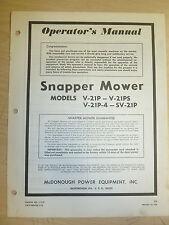 SNAPPER V21P V21PS V21P4 SV21P WALK MOWERS PARTS MANUAL # 1-1757