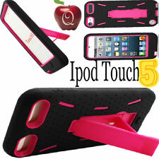 iPod Touch 5 5TH Gen Hybrid IMPACT HARD SOFT BLACK CASE Cover HOT PINK KICKSTAND