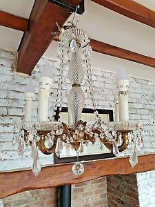 Lovely Ornate Vintage Glass Crystal Droplets Chandelier 5 Arm Brass