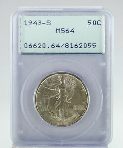 1943-S 50C Walking Liberty Half Dollar Graded by PCGS as MS64! Old Rattler!