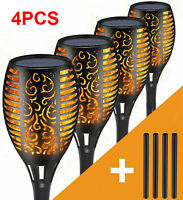 4PCS Solar Torch Lights Flickering Dancing Flaming Outdoor 48 LED Garden Lamp