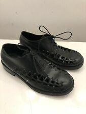 Damir Doma Mens Black Leather Cut-Out Shoes 41 UK7.5