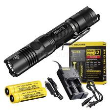 NiteCore P12GT 1000 Lumen Flashlight, 2 x 3400 mAh 18650s, i2 and Car Chargers