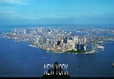 New York City, Manhattan & Harbor, Skyscrapers, NY, Airplane Plane View Postcard