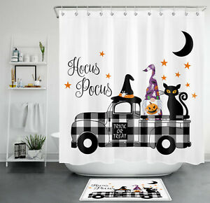 Halloween Shower Curtain Modern Farmhouse Autumn Funny Gnome For Bathroom Decor