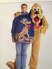 KNITTING PATTERN Disney Mens Pluto Motif Jumper Sweater Dog Design PATTERN