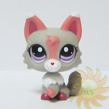 Littlest Pet Shop LPS Collection Animal Toys #1921 Gray Pink Wolf Dog Fox Cat
