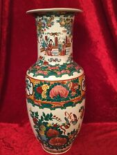 Chinesische Vase Bodenvase Porzellan mit Blumen Palastszene 40 cm