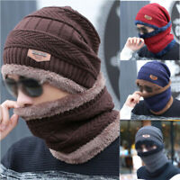 Scarf with 2pcs Beanie Cap Skull Knitted Hat Winter Set Men's Warm