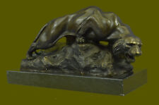 Hot Cast Hand Made Mountain Lion Bronze Museum Quality Sculpture Figurine Figure