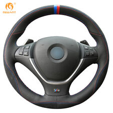 Black Leather Black Suede Steering Wheel Cover For BMW E70 X5 2008-2013 E71 X6