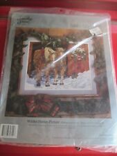 """New 1992 Something Special Needlepoint Kit, 20"""" x 16"""", Winter Horses Picture"""