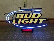 Classical Bud Light Beer Bar Pub Real Glass Neon Light Sign with Clock 18x24