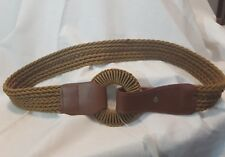 Ladies braided rope belt with round circle flap over stud closure M