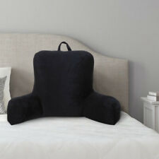 Micro Mink Plush Backrest Lounger Pillow, Rich Black