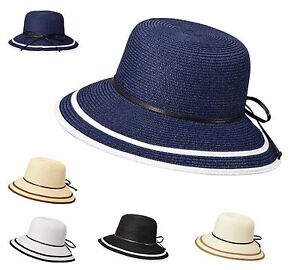 Miuno® Damen Strohhut Sonnenhut Sommer Glocke Hut mit Schleife H51061