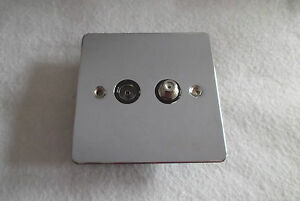 Flat Plate Satellite/Coaxial Socket - Polished Chrome - GU7240BPC