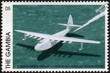 SPRUCE GOOSE (Hughes HK-1/H-4 Hercules) Flying Boat Aircraft Stamp (1997 Gambia)