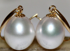 AAA natural 10-11MM  south sea white pearl earrings 14K  GOLD