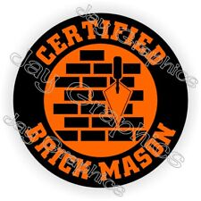 Certified Brick Mason Hard Hat Sticker / Safety Helmet Decal Label / Masonry