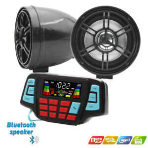 12V Motorcycle Waterproof Audio FM Radio Stereo Bluetooth Speaker For Polaris
