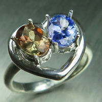 Natural Andalusite & Tanzanite 925 silver 9ct 14k 18k Gold engagement heart ring
