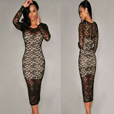 Sz 8 10 Black Lace Long Sleeve Formal Prom Cocktail Party Club Slim Midi Dress