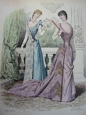 """34/ GRAVURE DE MODE """" Moniteur de la Mode Paris 1891 """".   Grand format 36x26"""