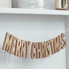 ROSE GOLD 'MERRY CHRISTMAS' WOODEN BUNTING -Glitter Garland/Hanging Decoration