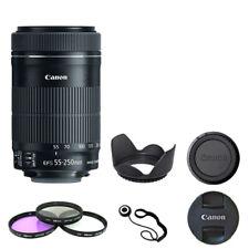 Canon EF-S 55-250mm F4-5.6 IS STM + Filter Kit Lens Hood Cap Kepper Bundle